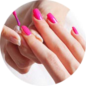Nail Painting with pink nail polish