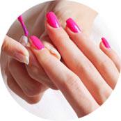 Nail Painting with pink nail polish