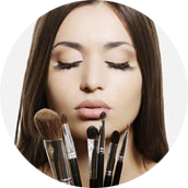 Getting makeup applied using different brushes